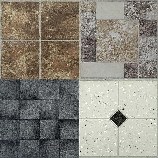 9 x DIY Self Adhesive Vinyl Floor Tiles Bathroom Kitchen black /& white effect