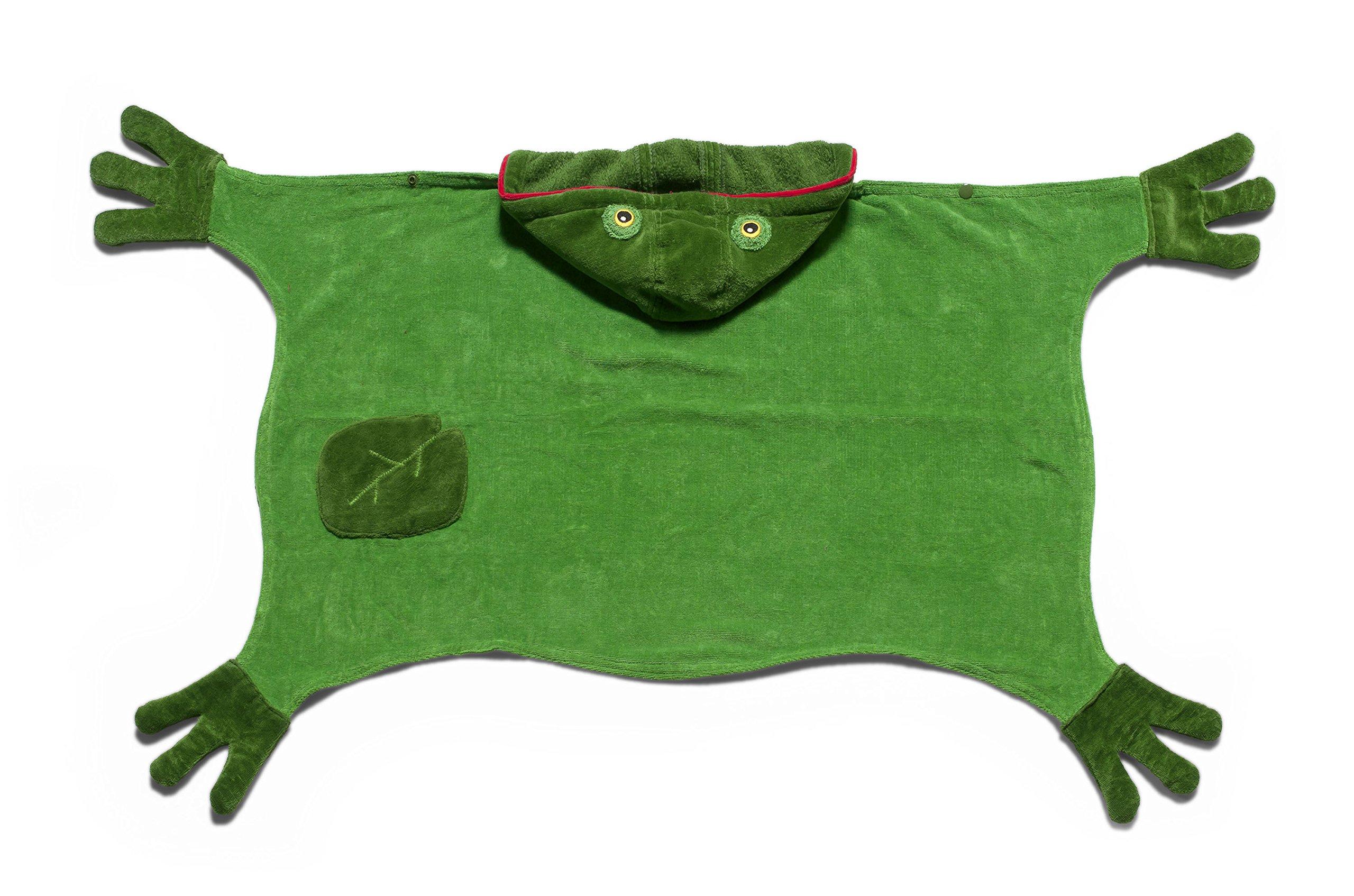 Kidorable Kids Frog Towel, Size Medium, Green Hooded Towel for Bath, Beach or Pool, 100% Cotton Kid's Towel, Machine Washable