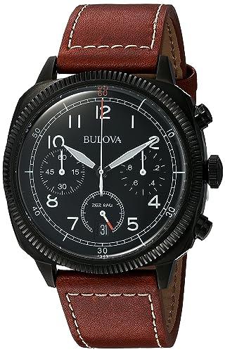 Bulova Militar - Reloj UHF para Hombre con Esfera analógica, dial Negro y Correa de Piel marrón: Bulova: Amazon.es: Relojes