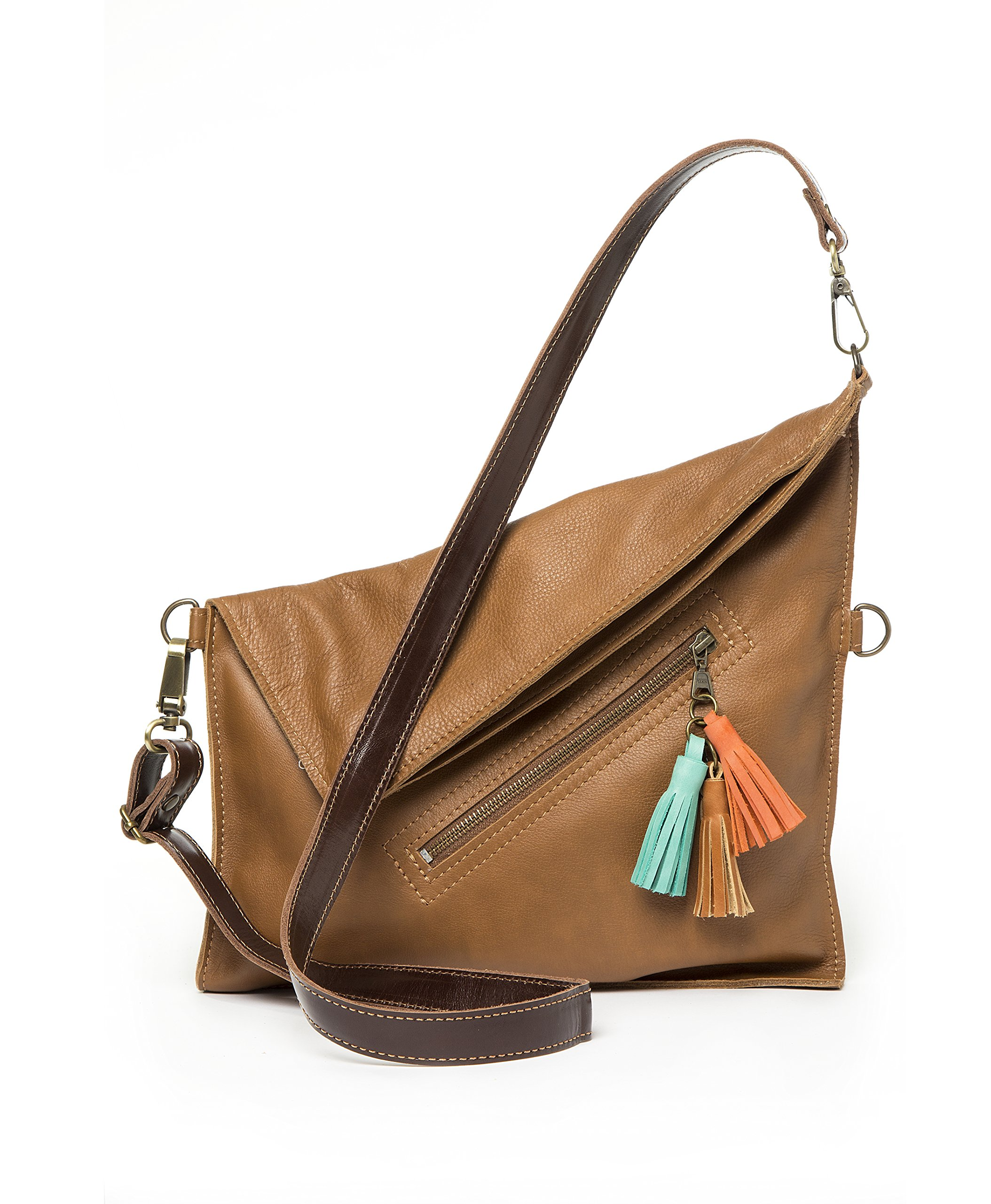 Soft leather crossbody bag | Fold over purse | Practical for woman and girls (Tan)
