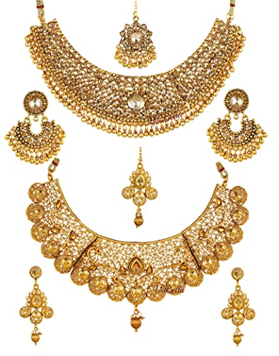 3f1c36c85da2f YouBella Latest Traditional Jewellery Gold Plated Jewellery Set for Women  (Golden)(YBNK_5477)