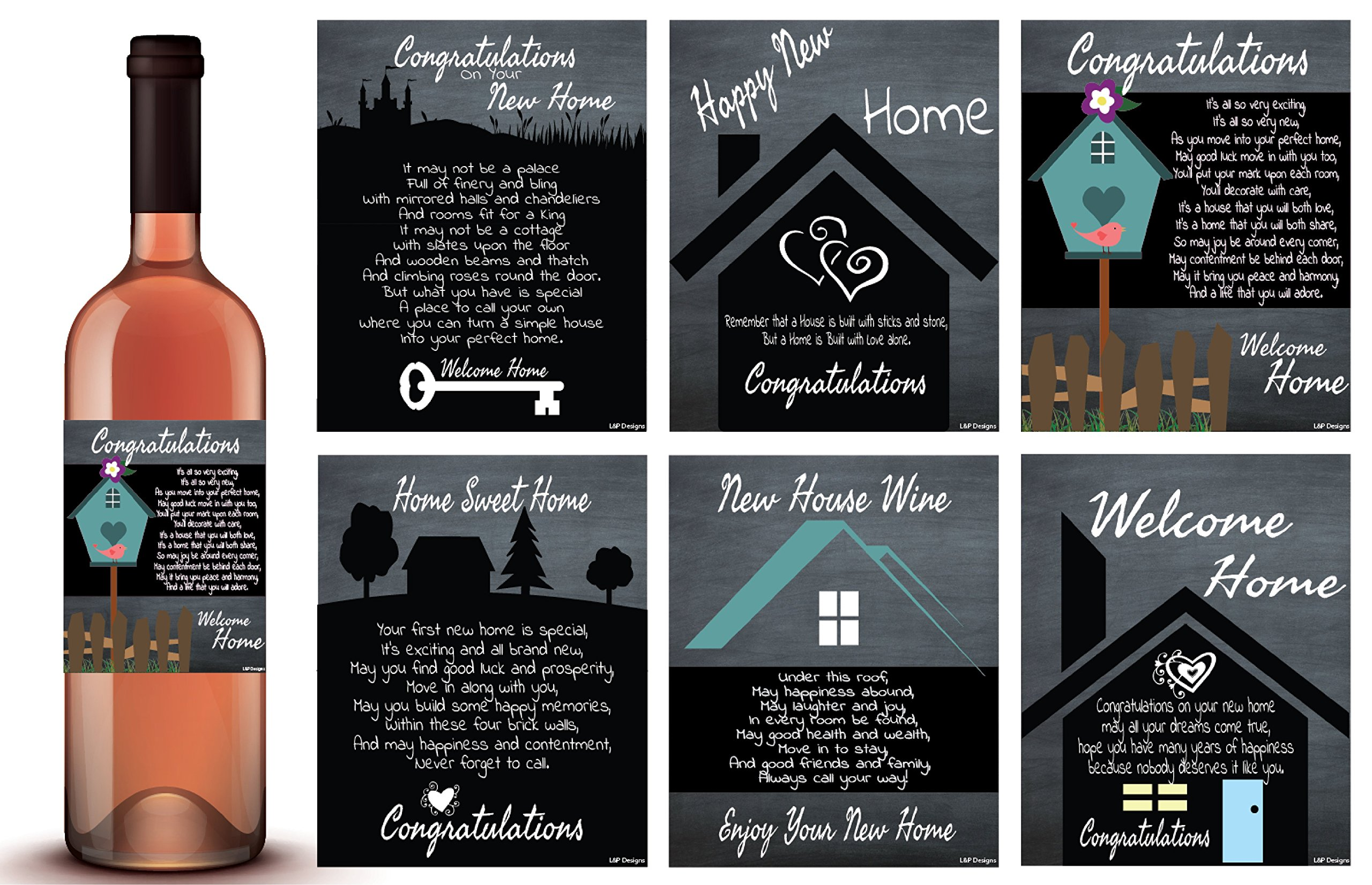 Housewarming Gifts Rustic Wine Labels set, Housewarming Gifts For New Home, New Home Milestones Wine Bottle Labels, Unique Real Estate Housewarming Presents, Congratulations Gifts, New Neighbor Gifts