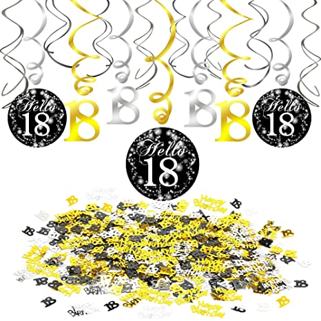 Howaf Décorations Anniversaire 18 Ans Anniversaire Décoration Noir Et Or Guirlande à Spirales Suspension Serpentins 15pcs Happy Birthday Et 18