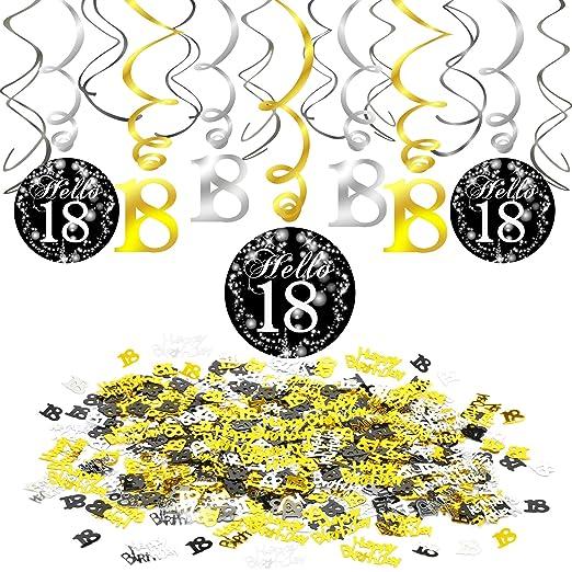 Howaf 18 cumpleaños Decoración Colgante remolinos Adornos de espirales y Feliz cumpleaños & 18 Mesa Confeti para 18 Años Decoraciones Fiesta de ...