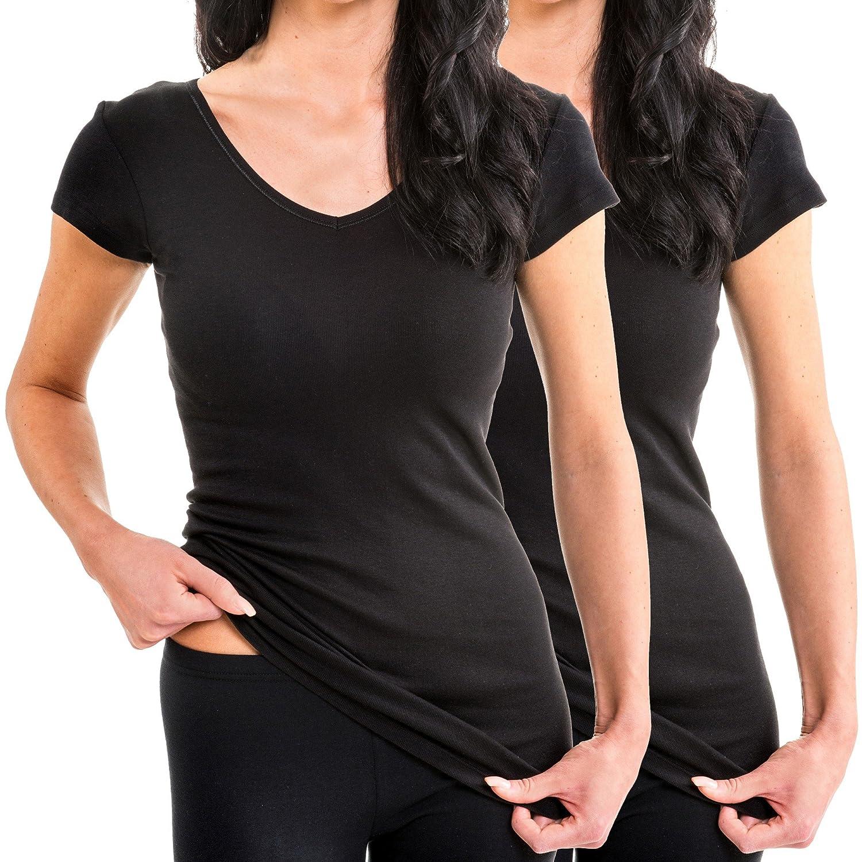 HERMKO - Camiseta - Ropa - Manga corta - para mujer: Amazon.es: Ropa y accesorios