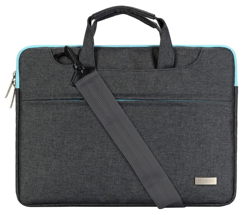 Mosiso Polyester Laptop Shoulder Bag Briefcase Sleeve Case Cover Handbag for 13-13.3 inch MacBook Notebook with Back Belt for Trolly Case, Black