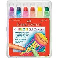 Faber-Castell Crayons–Super Suave de Gel para Brilliant Color y una Mezcla Superior–Funciona en toneladas de Texturas, 6 Unidades - Colores neón