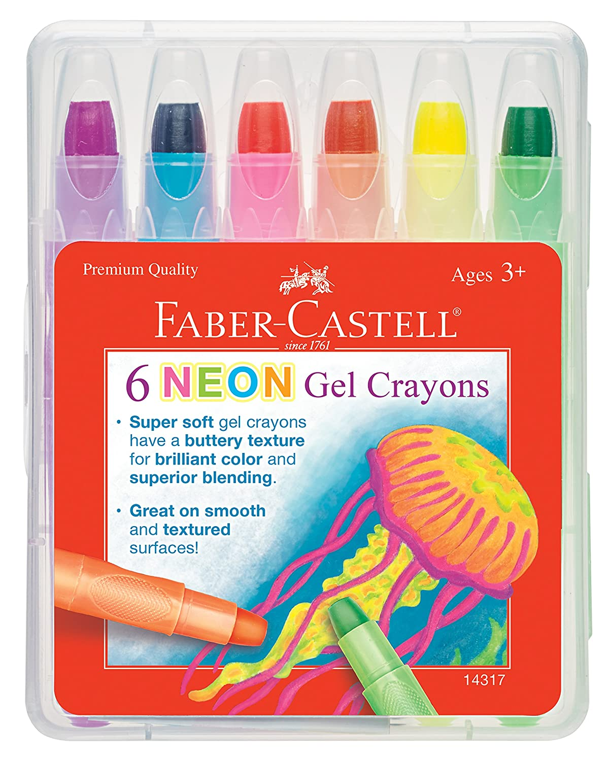 Faber Castell Gel Crayons - 12 Vibrant Colors In Durable Storage Case 14592