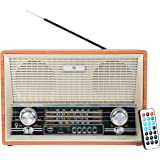 Noizzy Box Retro-XXL 2002 BT Vintage Style Speaker with MP3/MP4/FM/Bluetooth/AUX/TF Card/DSP Radio/USB and Remote (Brown and Beige)
