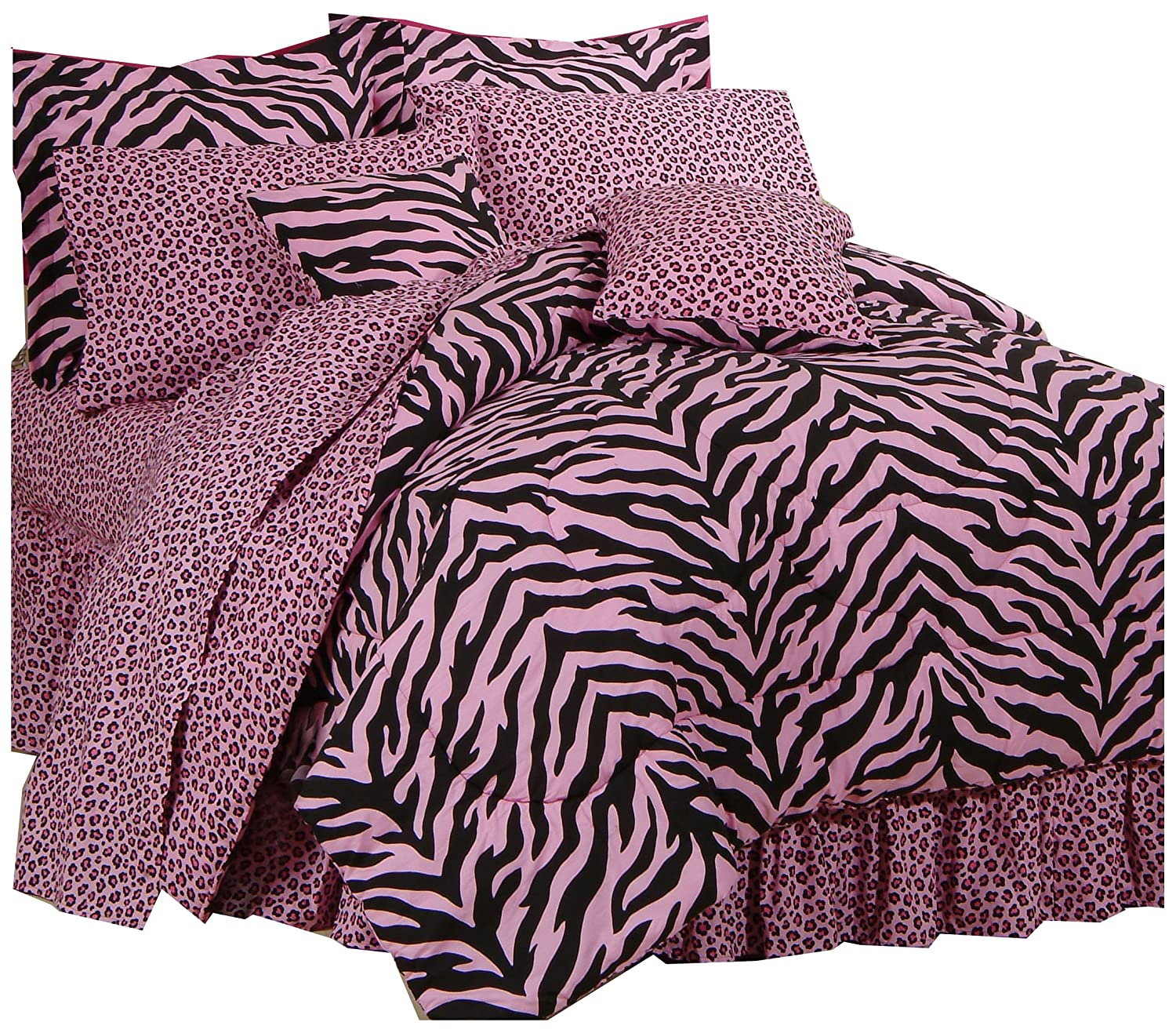 Karin Maki Zebra Complete Bedding Set, X-Large Twin, Pink