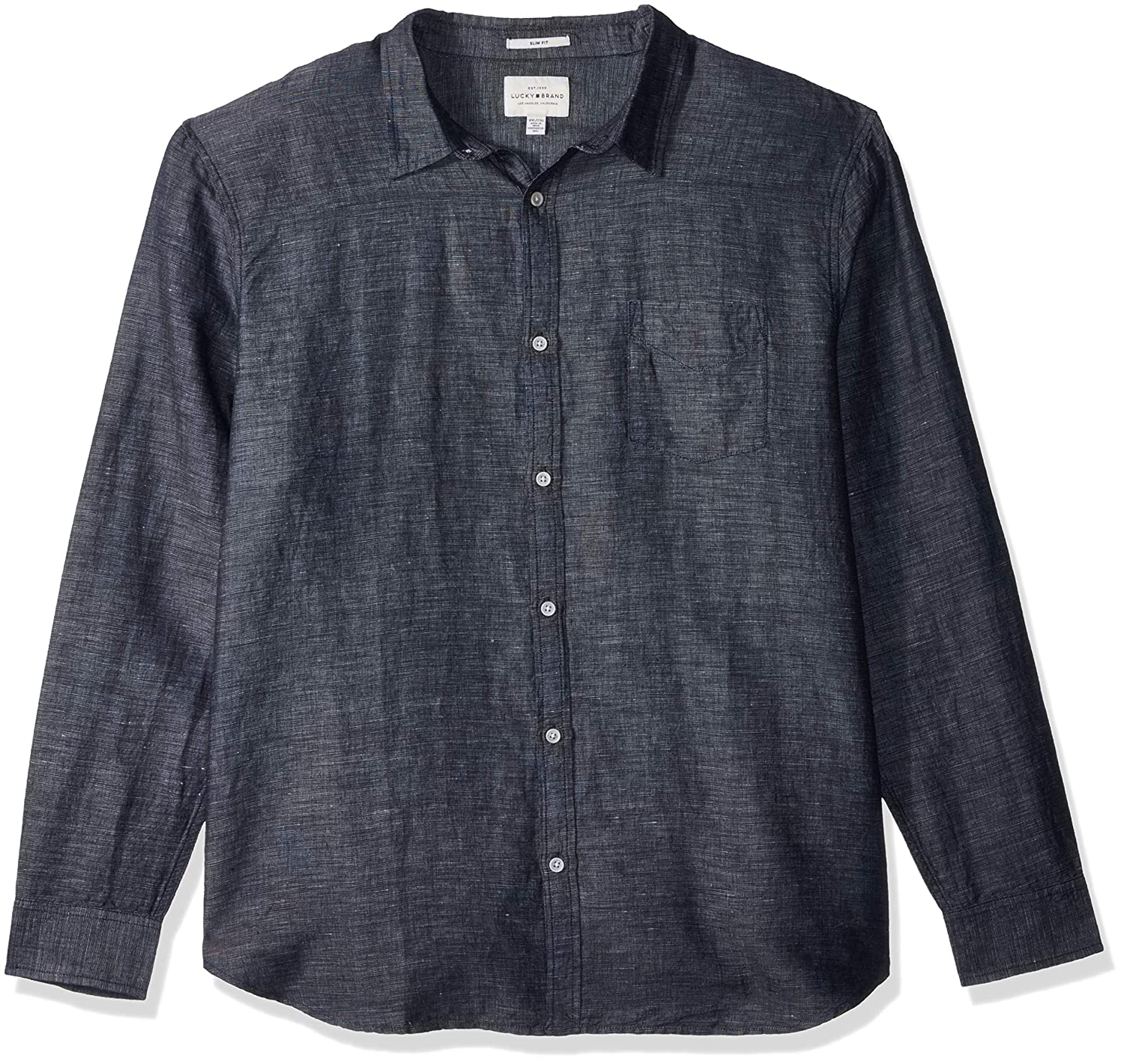 Lucky Brand Mens Casual Long Sleeve Solid Ballona Button Down Shirt