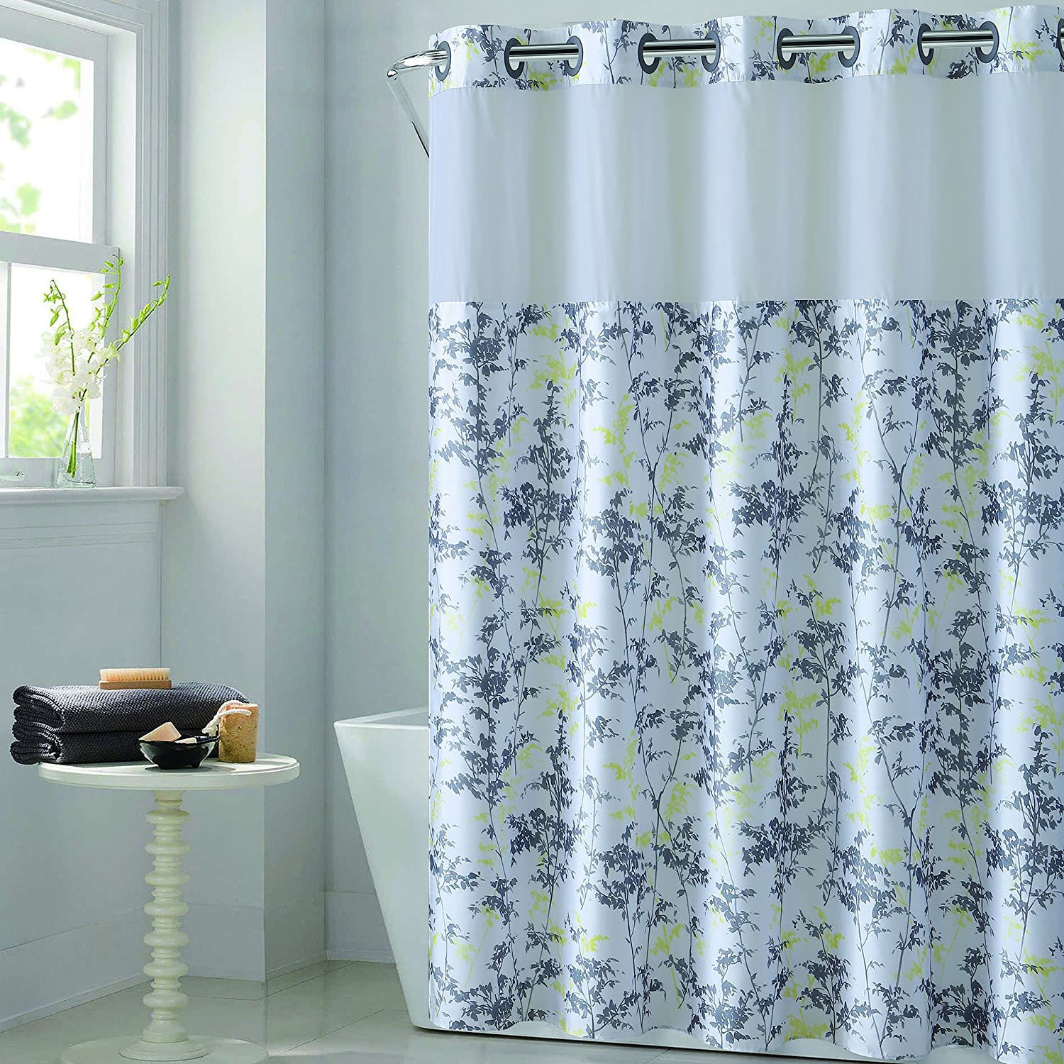 Hookless Floral Leaves PEVA Lined Shower Curtain Gray//Yellow