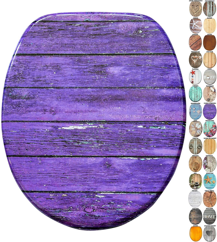 Asiento para inodoro de cierre suave, gran selecció n de atractivos asientos de inodoro de madera con calidad superior y duradera (Florida) gran selección de atractivos asientos de inodoro de madera con calidad superior y duradera (Florida) SANILO