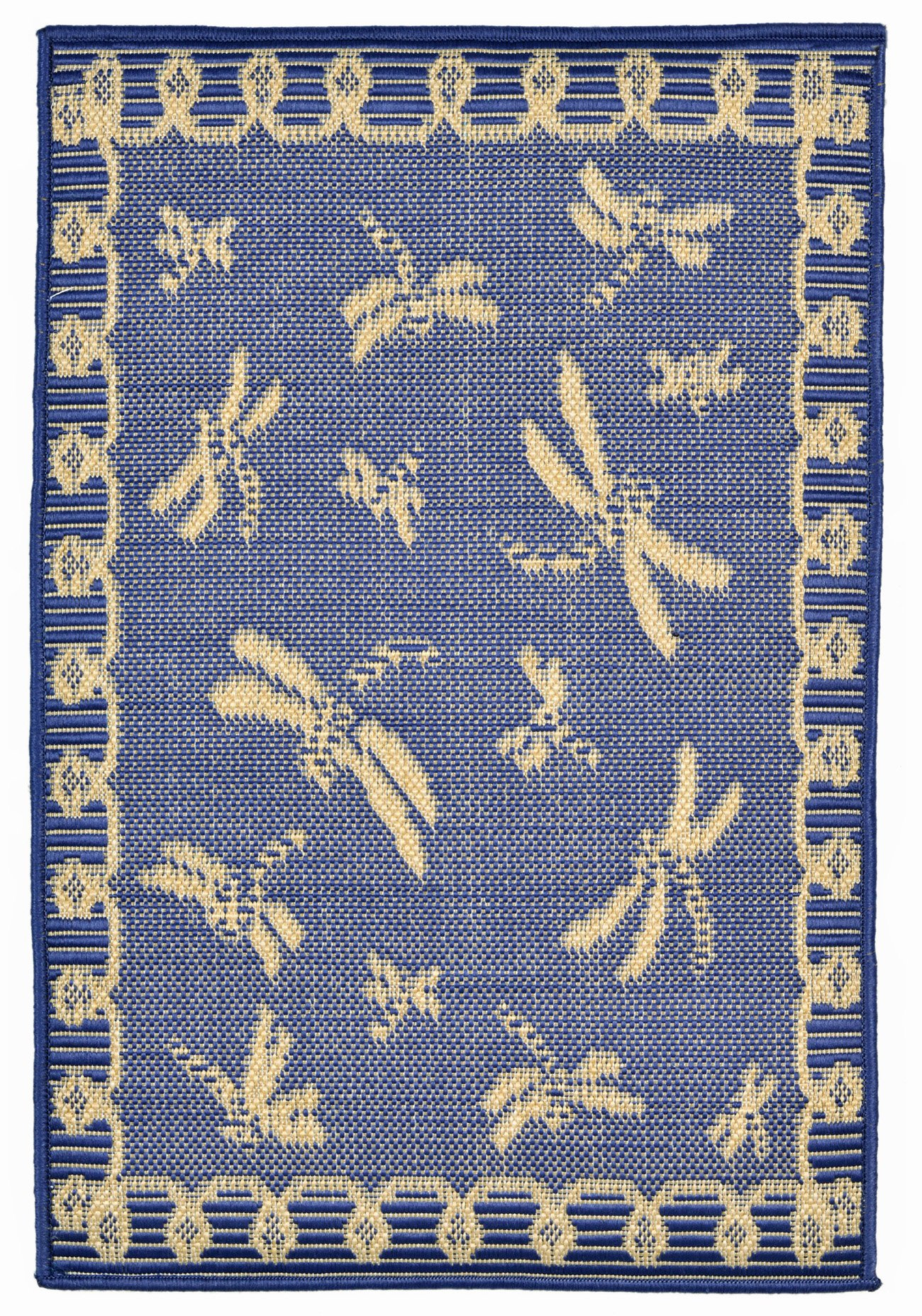 AREA RUGS - ''DRAGONFLY DANCE'' RUG - MARINE BLUE - 23'' x 35'' - INDOOR OUTDOOR DRAGONFLY RUG