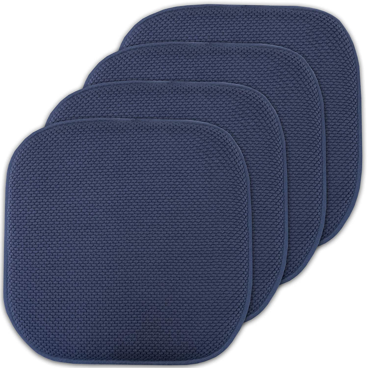 "Sweet Home Collection Memory Foam Chair Cushion Honeycomb Pattern Solid Color Slip Non Skid Rubber Back Ultimate Comfort and Softness Rounded Square 16"" x 16"" Seat Cover, 4 Pack, Navy 4 Piece"