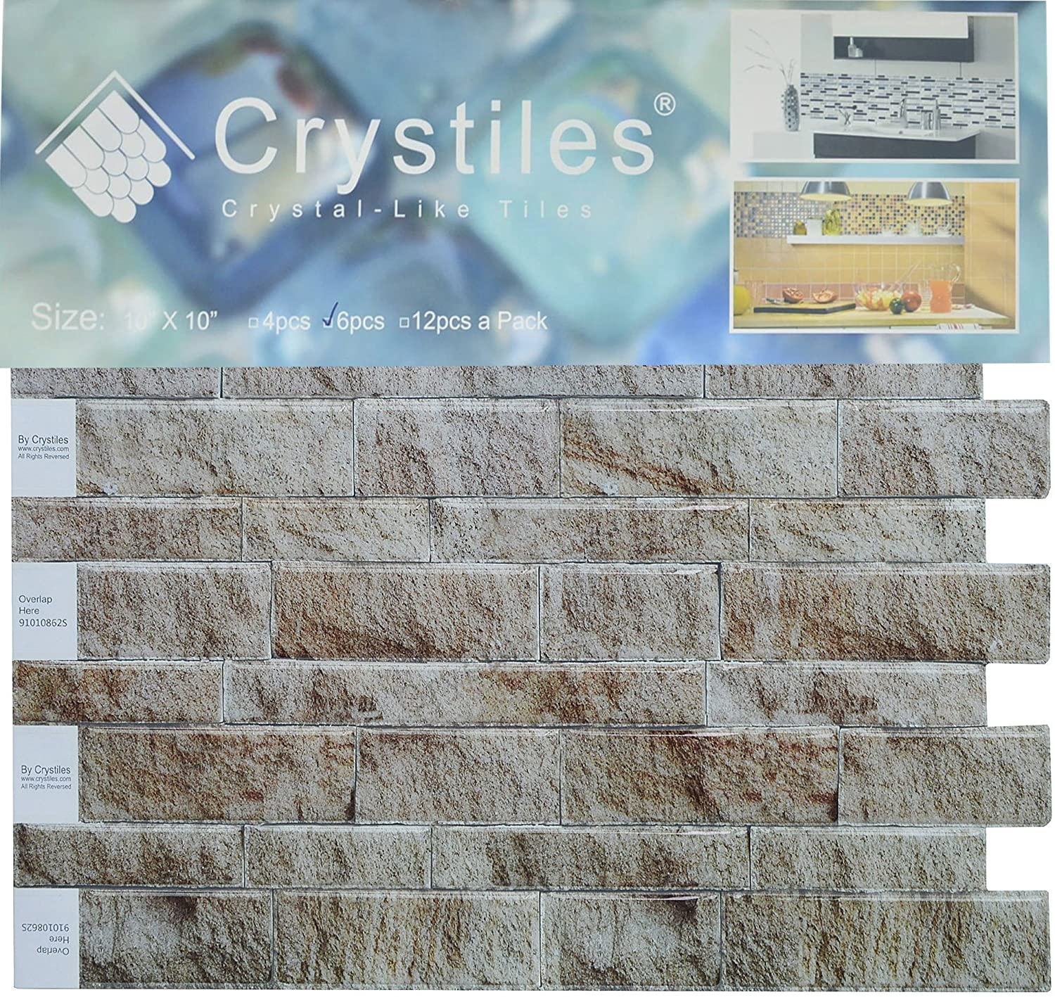 Amazon.com: Crystiles Peel and Stick DIY Backsplash Tile Stick-on ...