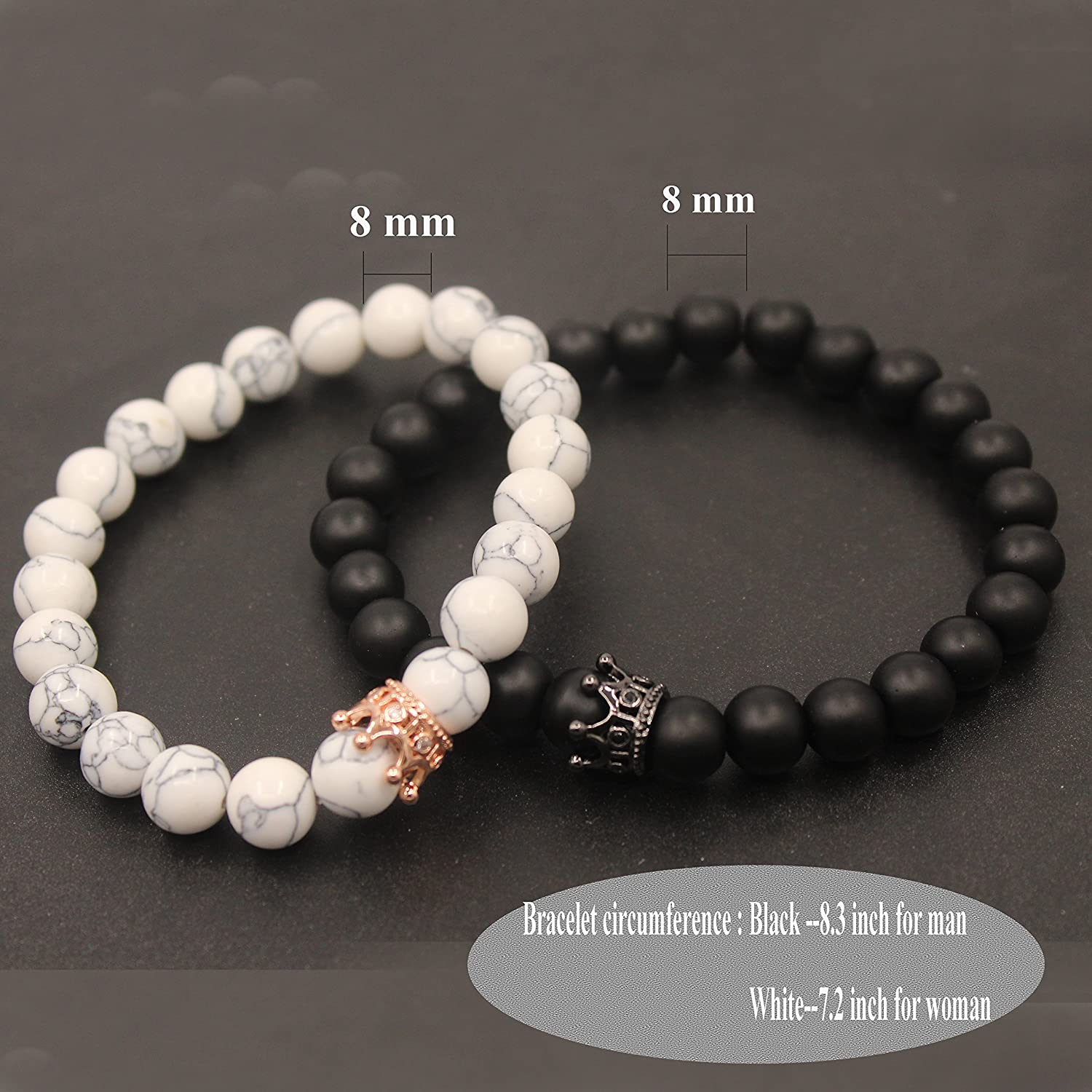 UEUC King&Queen Crown Couple Bracelets His and Her Friendship 8mm Beads Bracelet L4enYU3g