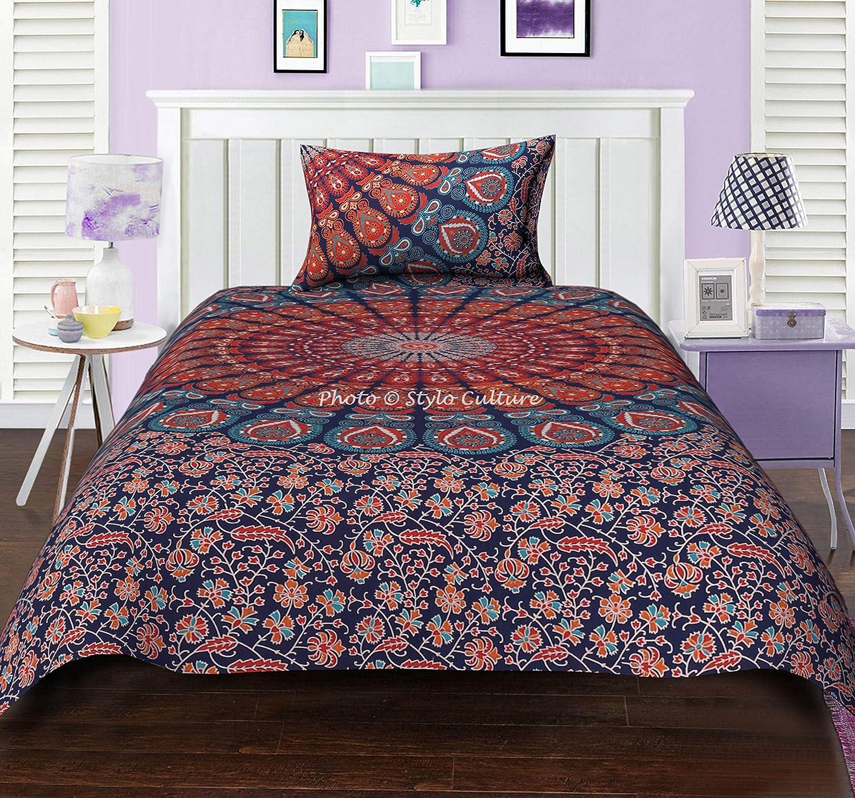 Indian Blue Gold Peacock Mandala Double Duvet Quilt Cover Bedding Blanket Set