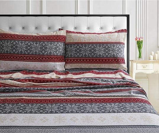 MISC - Juego de sábanas de Franela de algodón (4 Piezas), diseño ...