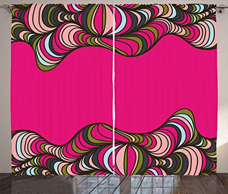 Trippy Curtains by Ambesonne, Wavy Psychedelic Borders Framework ...