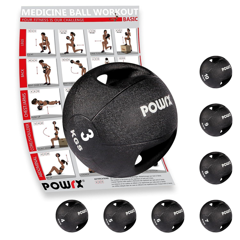 POWRX Balón medicinal con asas 3 kg 91f0a3d10a705