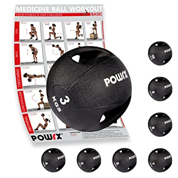 POWRX - Balón Medicinal con Asas 3 kg + PDF Workout (Negro): Amazon.es: Deportes y aire libre