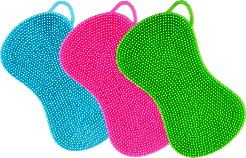 5er Set, pink Silikonschwamm K/üchenschwamm Reinigungsschwamm multifunktional