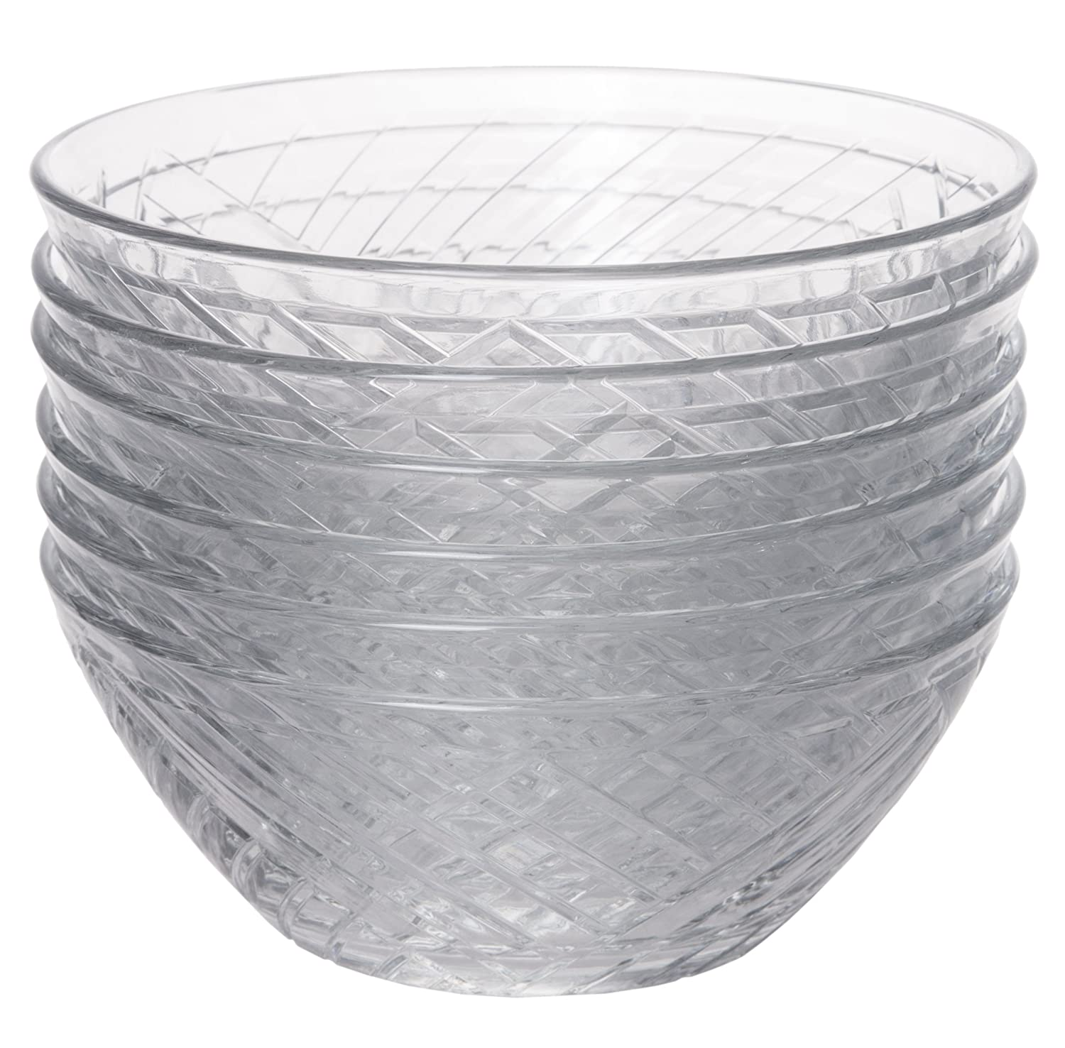 10 oz. Crystal Clear Set of 6 Mini Glass Multipurpose Prep and Serving Bowls 5-inch