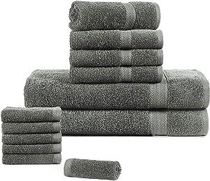 12 Piece Bath Towel Set, 100% Cotton 600 GSM, Super Soft Fluffy Plush, Quick Dry High Absorbent Bathroom Shower Spa Quality Bath Towel Set (2 Bath Towels, 4Hand Towels, and 6 Washcloths)-Steel Grey