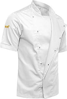 strongAnt® - Chaqueta de Chef para Hombrecon botones de bola, easyClean, Fácil de planchar, Repelente de suciedad, con Mangas Cortas, Limpieza fácil, Estilo delgado, Corte ajustado-Gris antracita/Blanco: Amazon.es: Ropa y accesorios