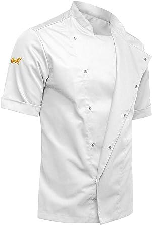 strongAnt® - Chaqueta de Manga Corta. Cocinero Noir Chef Ropa de Cocina - Hecho en EU - Blanco S-XXL: Amazon.es: Ropa y accesorios