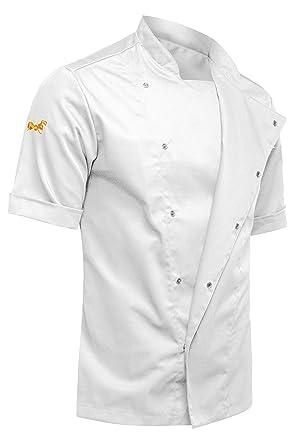 strongAnt® - Chaqueta Cocinero de Manga Corta. Uniforme de Chef Hombre. Ropa de Cocina - Made in EU - Blanco XXXXL