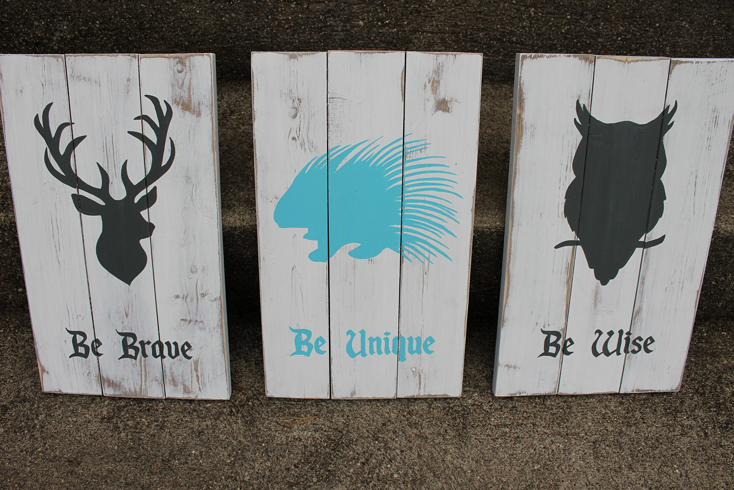 Rustic Nursery Decor - Woodland Animal Signs - Be Brave Be Wise Be Unique