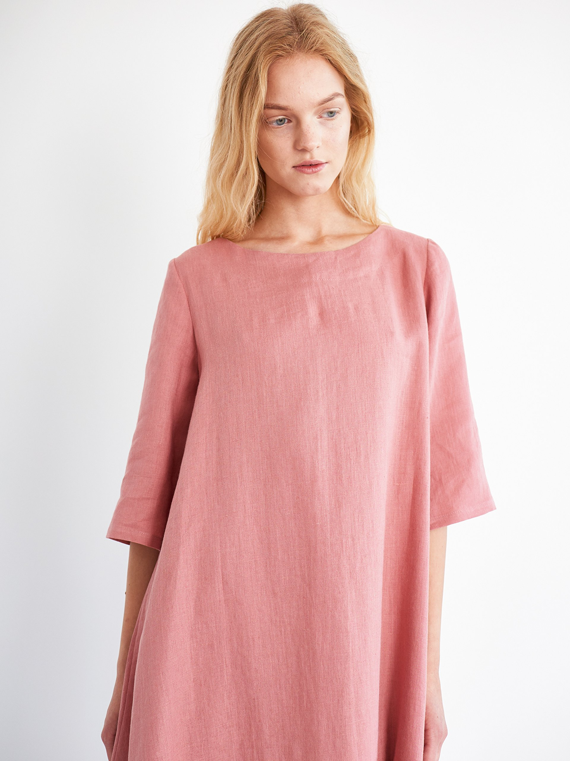 CHARLOTTE Trapeze Linen Dress in Salmon Pink Short Sleeve Boat Neck Summer