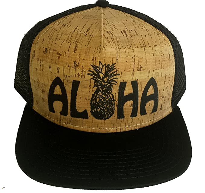 c004cfb09ea Amazon.com  ThatsRad Aloha Pineapple Cork Snapback Mesh Trucker Hat ...