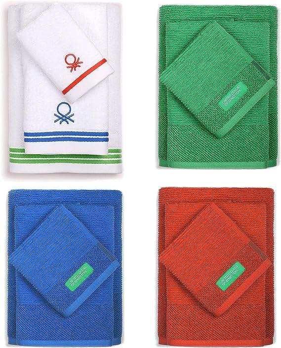UNITED COLORS OF BENETTON. Pack Familiar 12 Toallas de baño: 4 de Mano, 4 de Lavabo y 4 para Ducha, en Colores 70x140 cm, Multicolor, 4 de 30x50+4 de 50x90+4 de 70x140cm: Amazon.es: Hogar