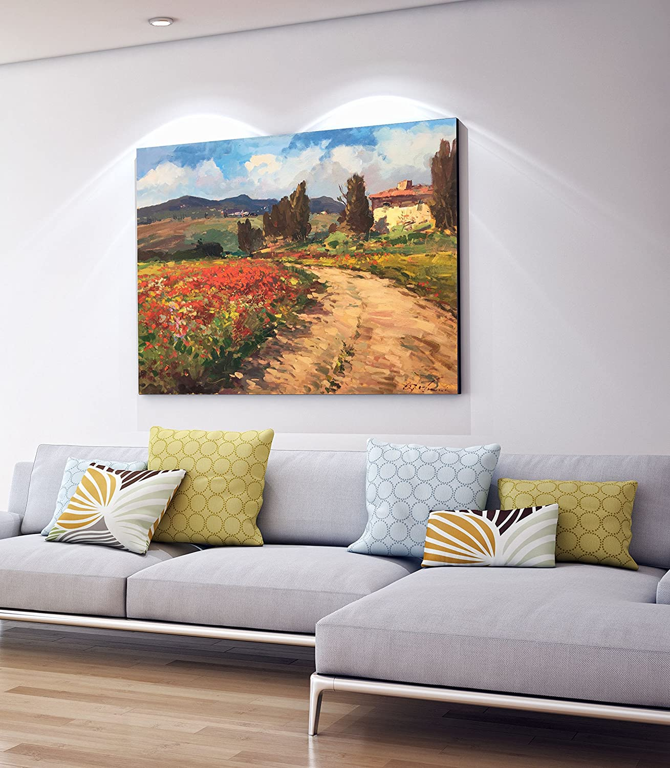 2c19294dad6 Amazon.com  Tuscan Chianti Country Wall Art Tuscany Italy Artwork Landscape  Canvas Prints Poppies Trees Cypress House Filed Sunflowers Home Decor Living  ...