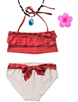 Muababy Baby Girl Swimwear Digital Print Moana Adventure Bikini With Necklace and Flower