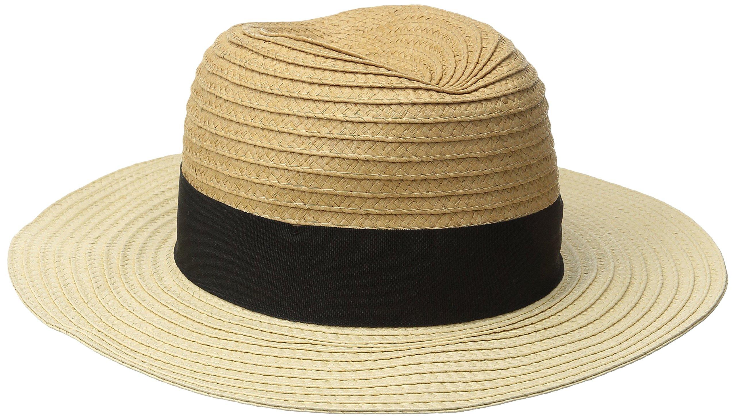 Goorin Bros. Women's Bobisha Two Tone Wide Brim Fedora Hat, Camel, Large