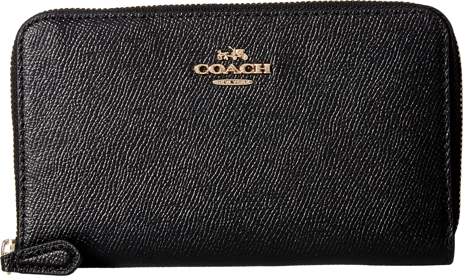 COACH Women's Crossgrain Leather Medium Zip Around Wallet Li/Black Wallets by Coach