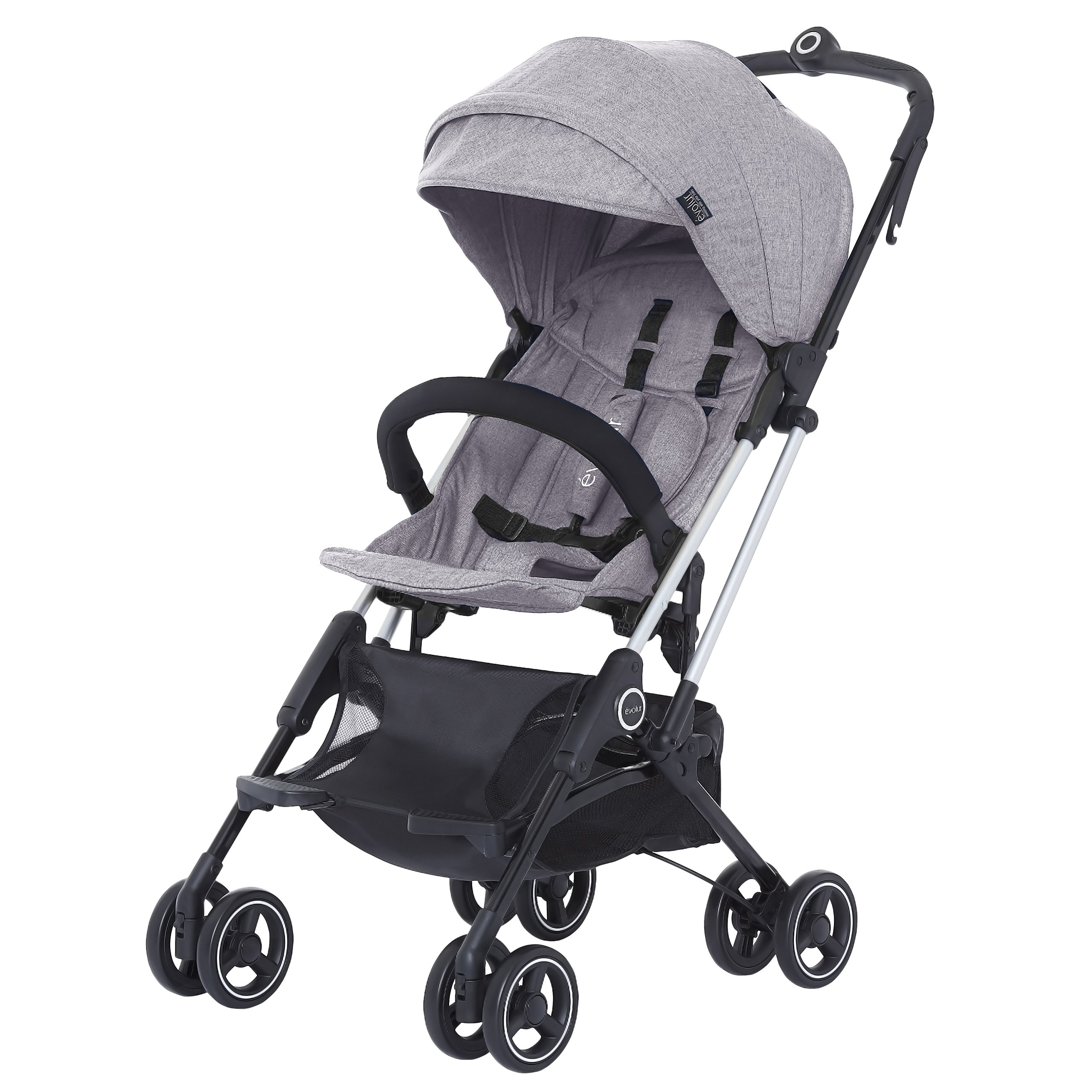 Evolur Voyager Stroller: Grey | One-Hand Easy Fold | Ultra Lightweight Compact Baby Stroller | Best Used for Airplane & Car Travel | Safe, Comfortable & Smooth Ride | Carries up to 50 Pounds |