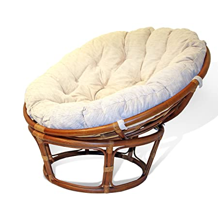 Perfect Handmade Rattan Wicker Round Papasan Chair With Cushion Colonial (Light  Brown)