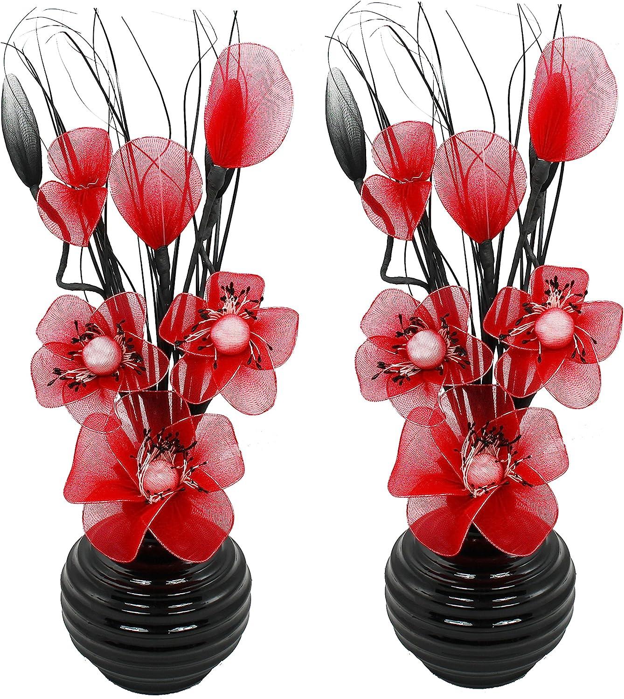 32cm Fen/être de Salle de Bain ou /étag/ère Flourish Argent/é Vase avec des Orange//Marron Fleurs Artificielles dans le Vase Chambre /à Coucher Salon Pr/êt /à Diplay