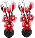 Flourish 813 Articial Mini da abbinare con fiore in vaso nero, rosso, 32 cm, 1 paio