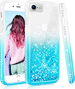 Maxdara Case for iPhone SE 2020 Case, iPhone 6 6S 7 8 Glitter Liquid Case with Screen Protector Bling Sparkle Rhinestone Diamond Pretty Fashion Women Girls Case for iPhone 6 6S 7 8 4.7 inches (Teal)