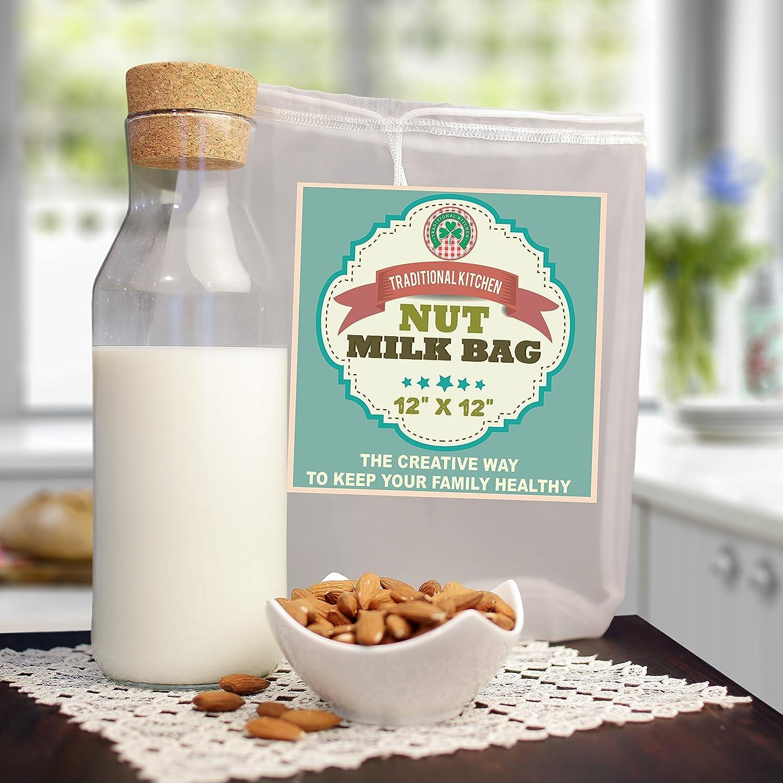 Cocina Tradicional Tuerca - bolsa de colador de leche y estameña - Leche de almendra, yogur de alimentos y Juice Maker - Frío - reutilizable Bolsas de ...