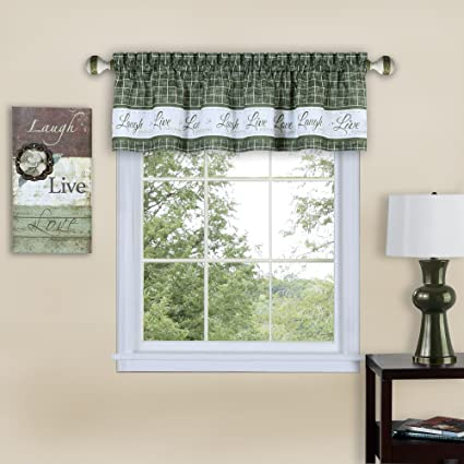 new style 7cbca c58cd Serenity Home Inspire Light Filtering Window Kitchen Curtain Valance  (Green, 58x14)