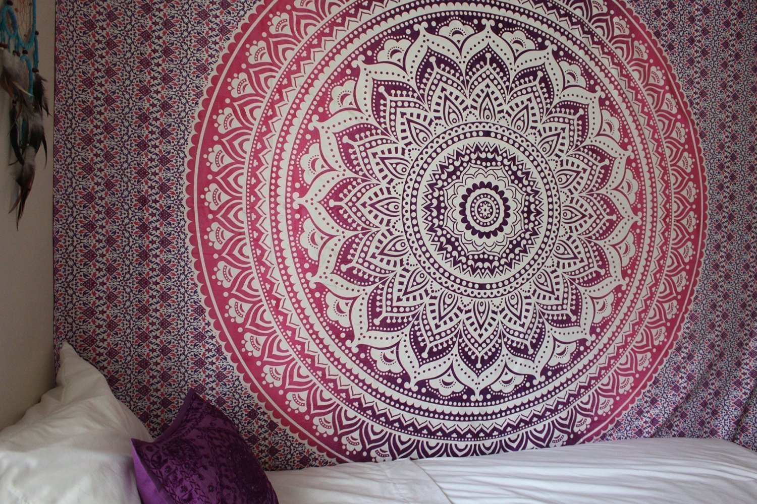 Indian Traditional Mandala Hippie Wall Hanging Cotton Tapestry Ombre Bohemian Bedspread (Light Green, Twin(54x72 Inches)(140x185 Cm)) Bless International BLESSIT97