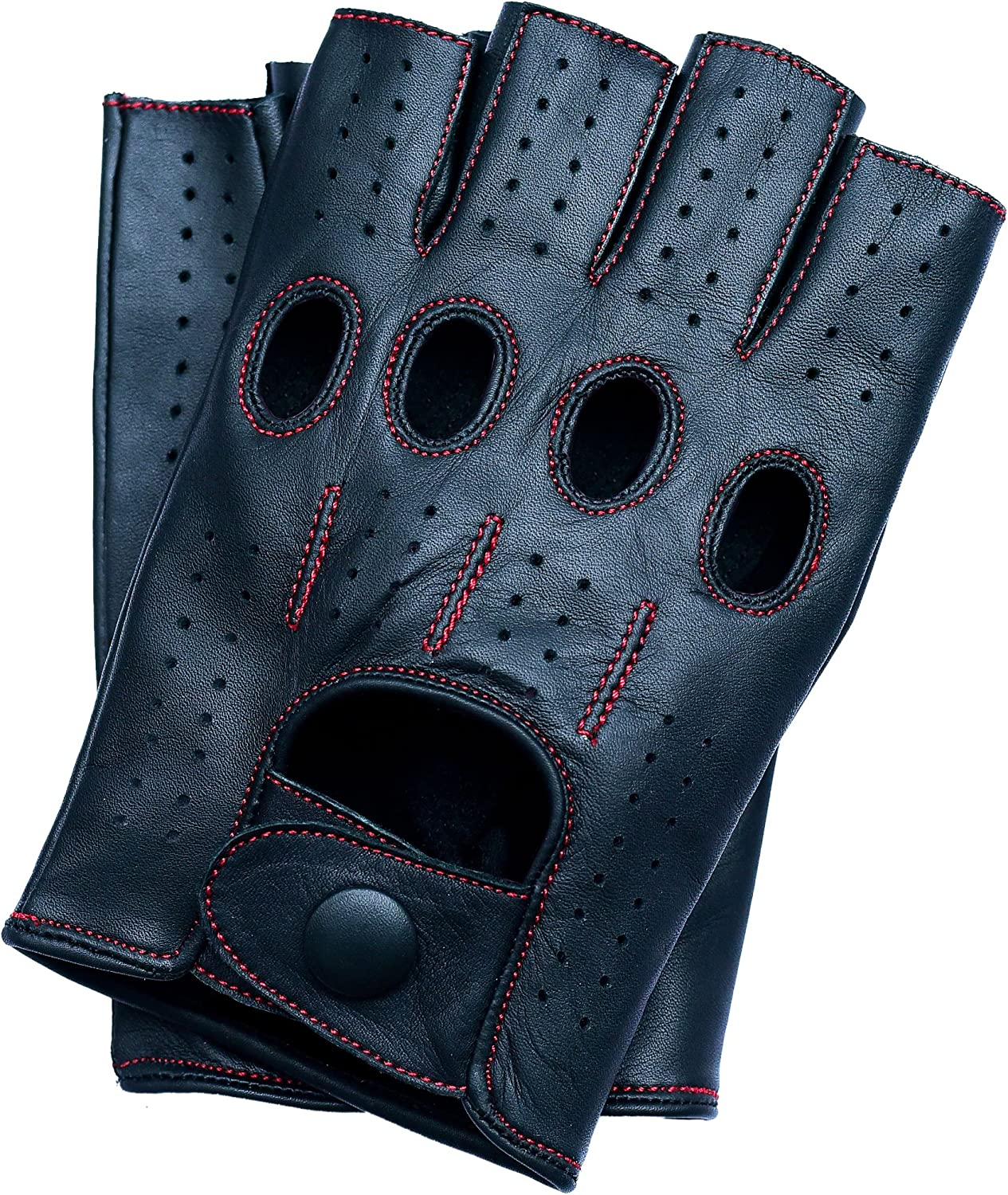 Riparo Motorsports Mens Fingerless Half Finger Driving Fitness Motorcycle Cycling Unlined Leather Gloves