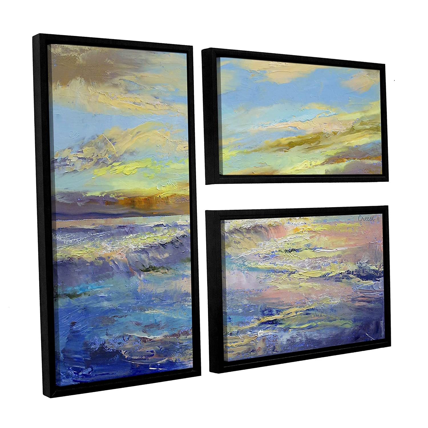 ArtWall Michael Creeses Florida Sunrise 3 Piece Floater Framed Canvas Flag Set 36 by 48